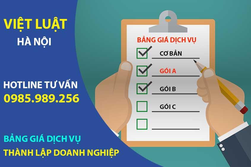 Bảng giá dịch vụ thành lập doanh nghiệp tại Hà Nội